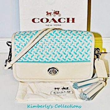 COACH  Legacy Penny Caning Leather Crossbody Shoulder Bag Purse Handbag Rare NWT