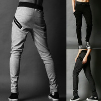 ON SALE ! Men Harem Baggy Hip Hop Slacks Men Tapered Pants Sport Sweat Pants 18822 = 1902220548