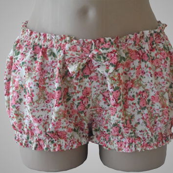 Pink Bloomers with Floral Print Cotton Handmade