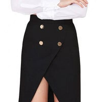 Black Button Midi Tailored Skirt With Split Front