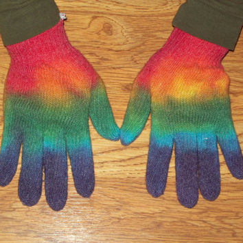 Tie Dye Gloves, Hand warmers, Gardening Gloves, Shower Gloves,  Rainbow