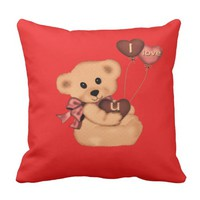 Cute teddy on a throw pillow