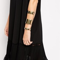 River Island Gold 3 Row Edgy Cuff Bracelet at asos.com