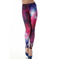 Colorful Edgy Galaxy Printed High Waist Leggings for Women