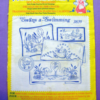 "Aunt Martha's ""Swans a-Swimming"" Hot Iron Transfer Pattern 3839 for Embroidery, Fabric Painting, Needle Crafts"