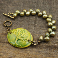 Pearl tree bracelet, light green chartreuse jewelry, brass tone, 7 inches