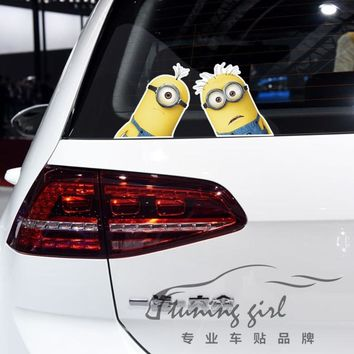 Car Stickers Minions Cartoon Cute Funny Lovely Creative Decals Waterproof Reflective Auto Tuning Styling 19x9cm D16