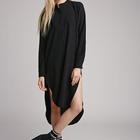 Collarless Crepe Shirt Dress