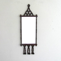 Vintage Wall Mirror with Brown Wooden Beads