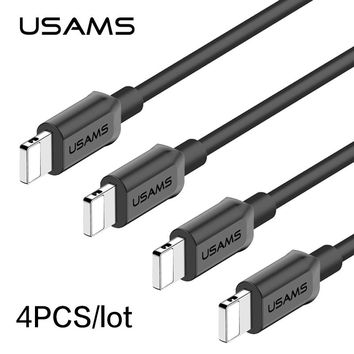 4pcs/Lot USAMS USB Cable for iPhone IOS 11 10 9 2A Fast Charger Usb Charging Cable for iPhone X 8 7 6 5 iPad Date Sync Cable