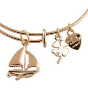 Expandable Bangle Bracelet Sailboat Charm Rose Gold Plate