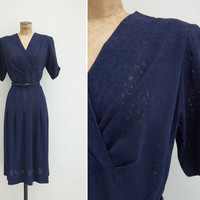 1940s Dress - Vintage 40s Navy Sheer Dress - Marítima Dress