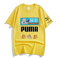 PUMA New fashion letter pattern print couple top t-shirt Yellow