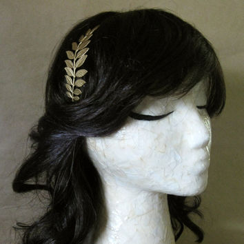 Laurel Headband  Bright Metallic Gold Leafed Fern by BezalelsTree