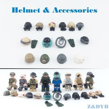 DIY Accessories Helmet Night Vision EOD Compatible legoed Figures Military Weapon Army Soldier SWAT WW2 building Block Brick Toy