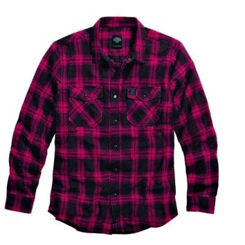 Harley-Davidson® Men's Black Label Red Plaid Flannel Shirt | Slim Fit - 99023-16VM