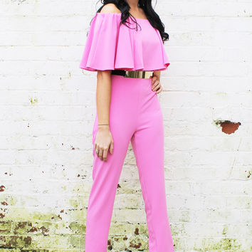 Brooke Ruffle Top Off Shoulder Jumpsuit in Bubblegum Pink