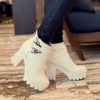 PU Round Toe Metal Buckle High Block Heel Ankle Boots
