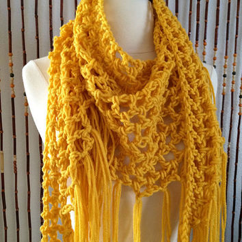 FREE SHIPPING - Crochet Triangle Steps Scarf - Gold, Yellow