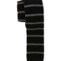 Aeropostale Mens Striped Knit Tie - Black, One