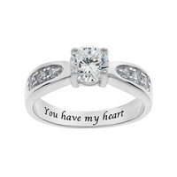 Cubic Zirconia Engagement Ring in Sterling Silver (White)