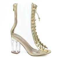 clear45 above ankle clear peep toe lace up boots Perspex Plexiglas block heel