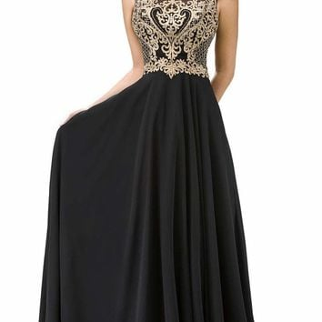 Dancing Queen - 9266 Embroidered-Lace Bodice Chiffon Long Prom Dress