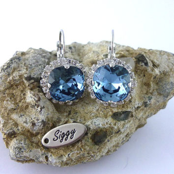 Swarovski crystal denim blue earrings or **PICK-YOUR-COLOR** 12mm cushion cut, clear halo, Crystal Pave, Siggy Wedding Jewelry