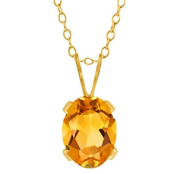 Oval Shape Yellow Citrine Yellow Gold Plated Brass Pendant