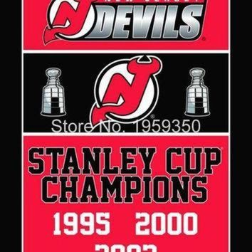 DCCK8X2 Jersey Devils Stanley Cup Champions Flag 3ft x 5ft Polyester NHL Banner flag BC251