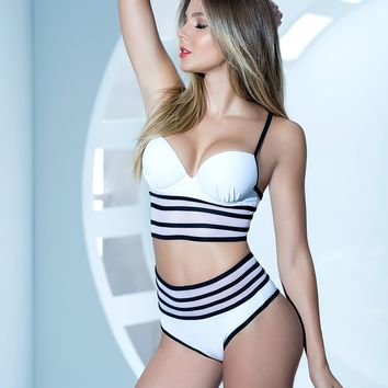 Striped High Waist Set