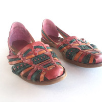 80's Honors Multicolored Leather Huaraches Size 6.5 Made in Brazil