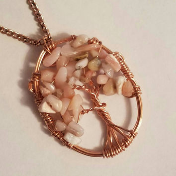 Pink Opal Gemstone Copper Wire Wrap Tree of Life Pendant Necklace / Family Tree, Mother's Day Gift / Wire Wrapped Jewelry, Layering Necklace