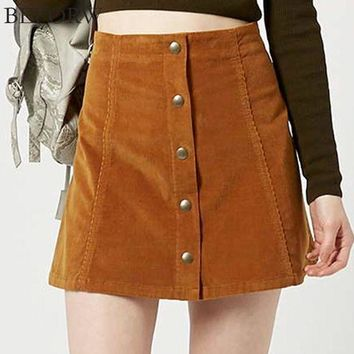 VONG2W Women Casual Skirt 2017 Party Mini Womens High Waist Short Skirts Autumn Button Lace Up Suede Leather Skirt
