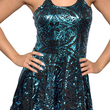 Green Burned Velvet Sleeveless Mini-Dress Design 3068