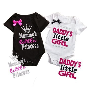 New Daddy Little Girl Letter Cotton Newborn Infant Baby Girls Mommy Little Princess Body suit Romper Jumpsuit Clothes Outfits