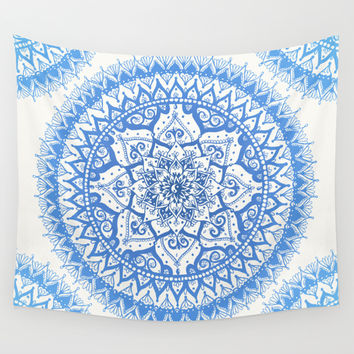 Yin Yang Mandala in Soft Blues Wall Tapestry by Laurel Mae | Society6
