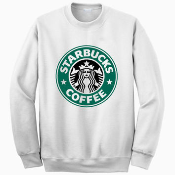New STARBUCKS COFFEE Logo White Sweatshirt Crewneck Men or Women Unisex Size - Part1