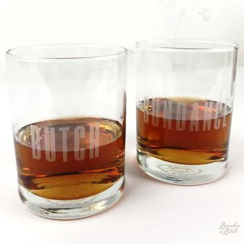 Butch and Sundance Whiskey Glass Set