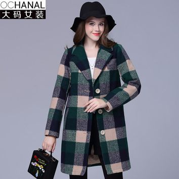 2016 Plaid winter coat women large size wool coats new woolen coat thick plaid wool coats casaco feminino