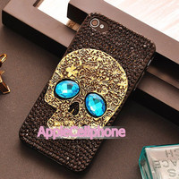 PUNK Style Crystal Skull iphone 4/4s case iphone 4s case  Iphone 5 case Skull iphone case with Blue EyesProtective Cover
