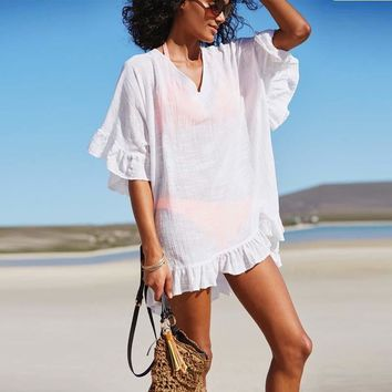 Beach Tunic Ruffle Vintage Bathing Suit Cover Ups 2018 Summer Sexy Solid Swimsuit White Swimwear Women Pareo Cover Up