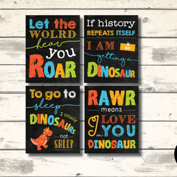 "Dinosaur Quote Typography Set of 4 Print, 8x10"", Instant Download, Child Nursery Wall Art, Dinosaur Party Printables, Playroom Decoration"