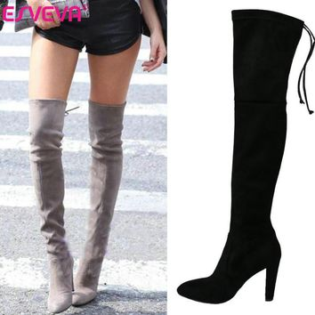 ESVEVA Sexy fashion round toe over the knee boots for women shoes sexy winter platform