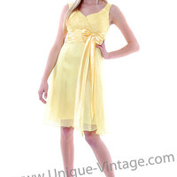 FINAL SALE! 1950's Style Yellow Chiffon & Satin Ruched Empire Waist Bow Prom Dress - S to 3XL - Unique Vintage - Bridesmaid & Wedding Dresses