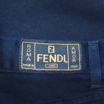 Black High Rise Fendi Italy Jean Pants Vintage 80s Fendi Roma Monogram FF Logo Pantalones 30 x 31 Made in Italy