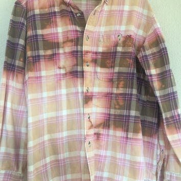 Vintage Boho Bleach Dyed Flannel