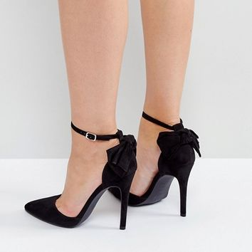 New Look Bow Back Pointed Heeled Shoes at asos.com