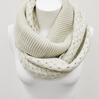 Ivory Cable Knit Infinity Basket Weave Double Loop Scarf BOHO Cozy Full Simple and Chic An Absolute Must for Fall