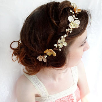 gold hair accessories, champagne hair flower, flower wreath, bridal hair accessories - PERSEPHONE - blush / beige headband, flower girl